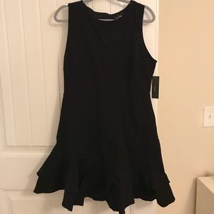 Lulu's Black Ruffled Asymmetrical Mini Dress